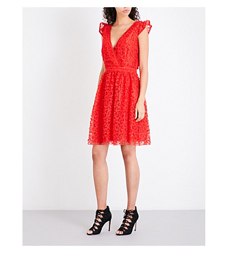 REISS Abrianna lace dress (Vermillion