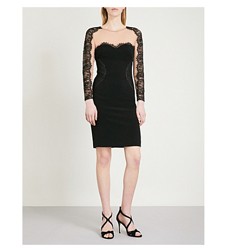 REISS Joelie mesh and lace-trimmed crepe dress (Black
