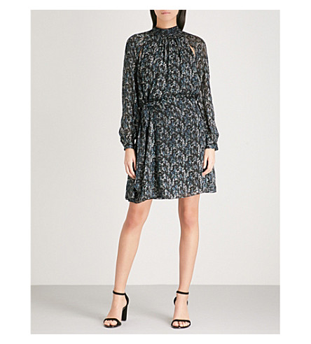 REISS Aubrie snake-print silk-blend dress (Multi