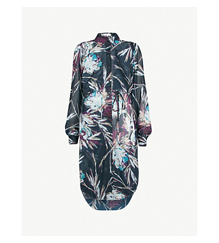 REISS Antonella floral-print chiffon shirt dress (Multi