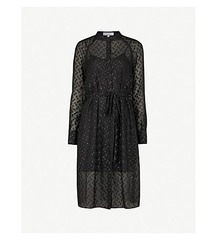 REISS Allura metallic-embroidered chiffon shirt dress (Black