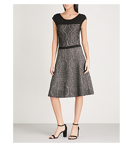 REISS Odealia jacquard-knit dress (Black