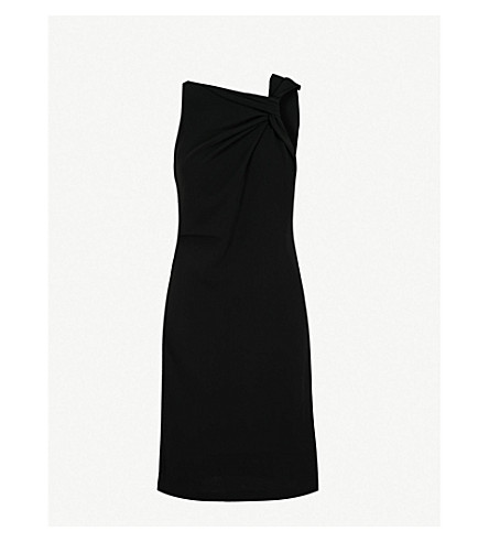 REISS Aliya asymmetric woven dress (Black
