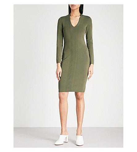 REISS Polly V-neck knitted dress (Khaki