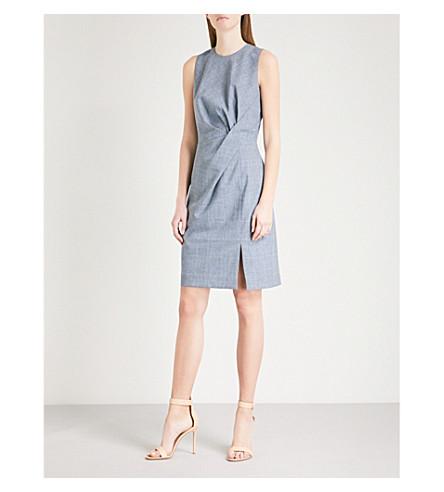 REISS Chelton checked woven dress (Blue