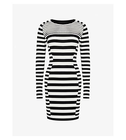 REISS Jolie knitted dress (Black/white