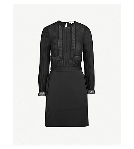 REISS Bruna pleated crepe dress (Black