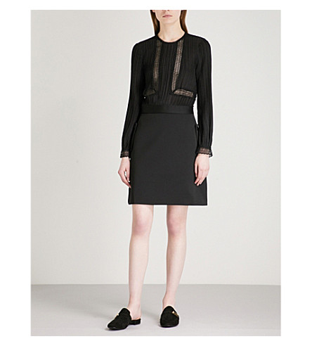 REISS Bruna pleated crepe dress (Black