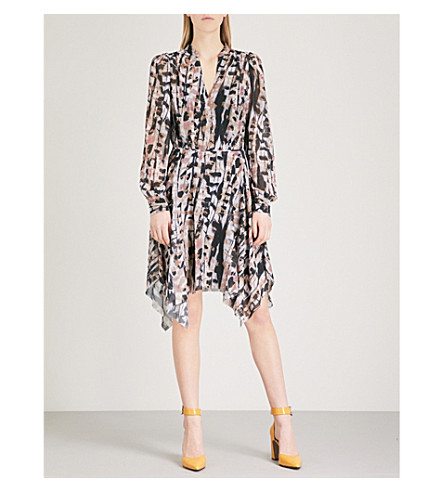 REISS Maine abstract-print chiffon dress (Multi