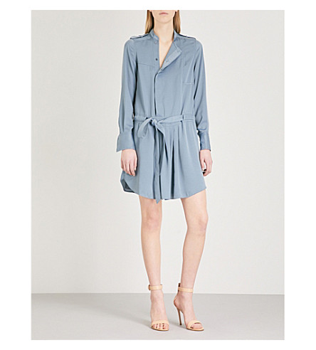 REISS Eleanor satin shirt dress (Nordic+blue