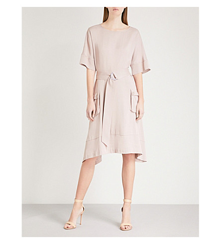 REISS Mars belted satin dress (Ash+pink