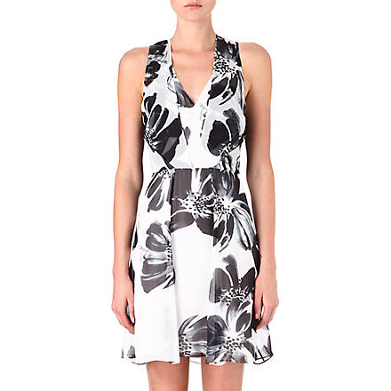 REISS Alice silk dress (Black/white