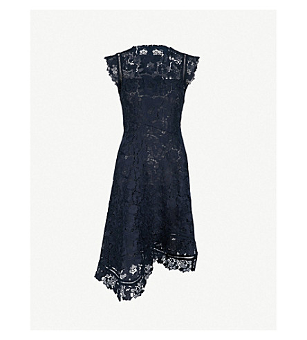 REISS Lucy asymmetric lace dress (Midnight