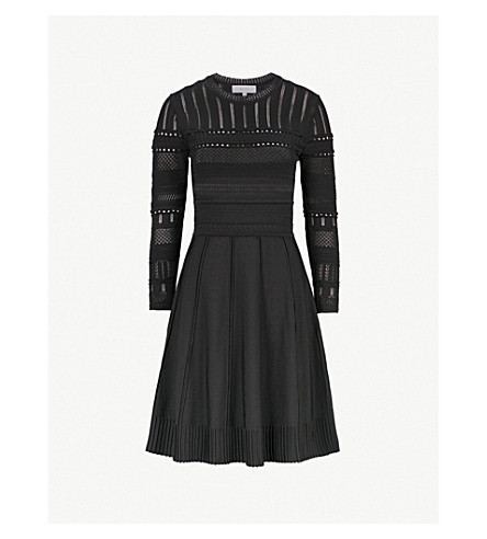 REISS Darcie pointelle-knit dress (Black