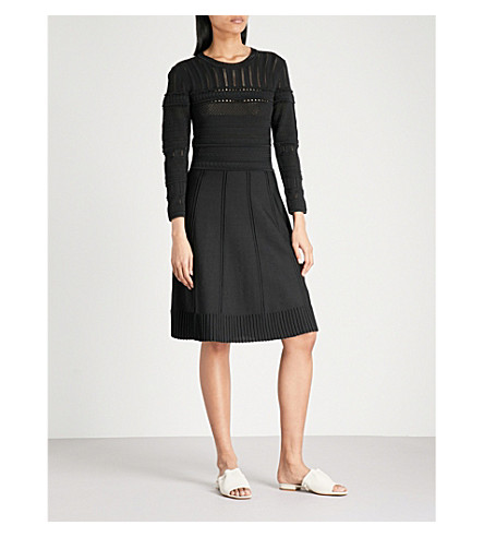 REISS Darcie pointelle-knit dress (Black