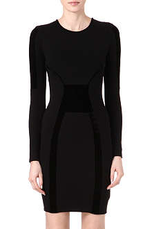 REISS Tigre velvet-panel dress