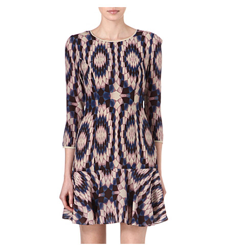 REISS Estelle kaleidoscope-print dress (Black