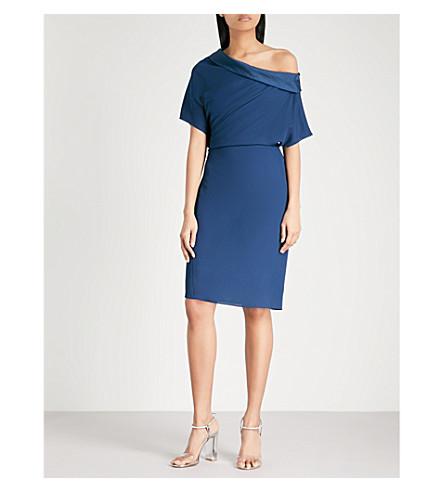 REISS Camilia asymmetric-neck crepe dress (Indigo