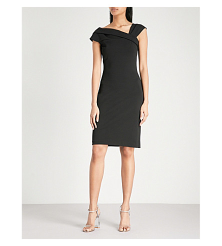 REISS Lyn asymmetric stretch-crepe dress (Black