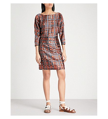 REISS Lily check devoré dress (Nude/black