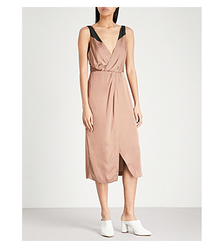 REISS Pia satin dress (Auburn