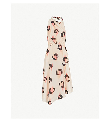 REISS Roya leopard-print crepe dress (White