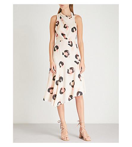 REISS Roya leopard-print crepe dress (White