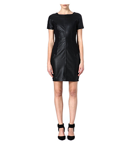 REISS Strasbourg leather dress (Black/white