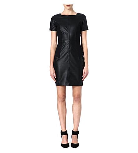 REISS Strasbourg leather dress (Black/white