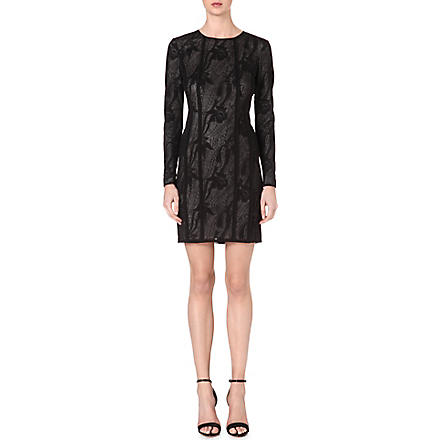 REISS Kitty panelled lace dress (Black