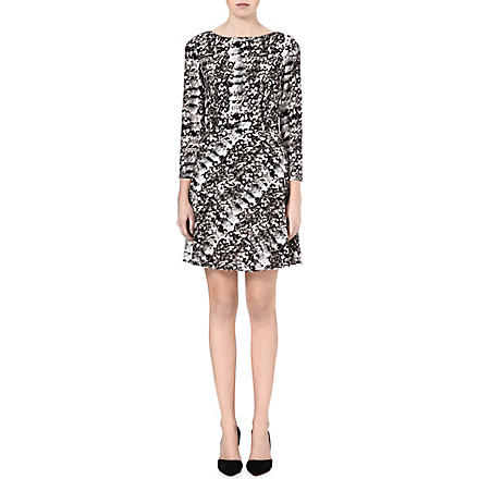 REISS Heidi snake-print flared dress (Black/white