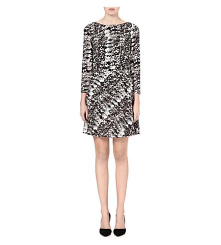 REISS Heidi snake-print flared dress (Black/white
