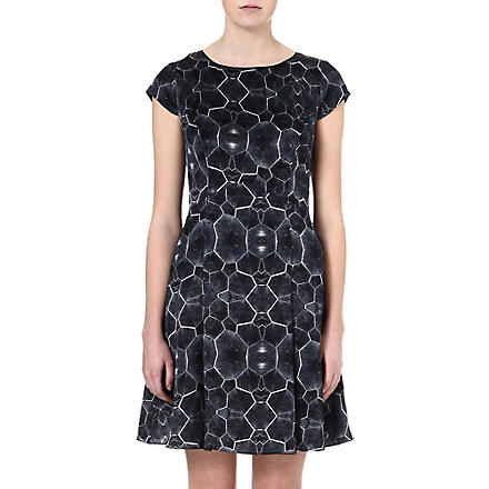 REISS Baker tortoise-print silk dress (Blue