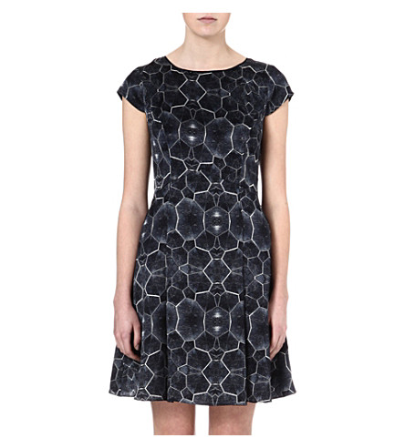 REISS Baker tortoise-print silk dress (Blue