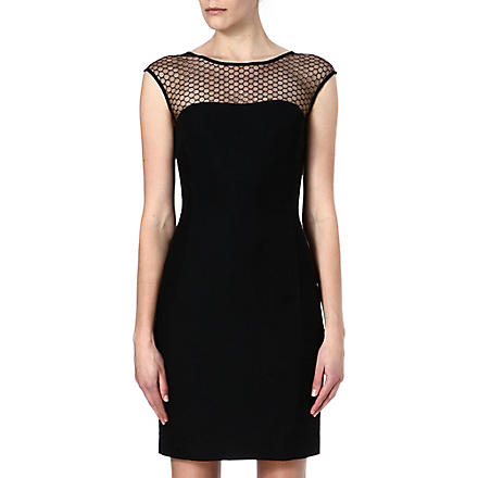REISS Honeycomb-mesh dress (Black/white