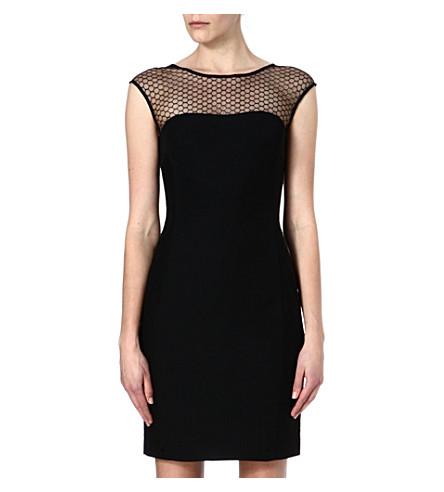 REISS Honeycomb-mesh dress (Black/white