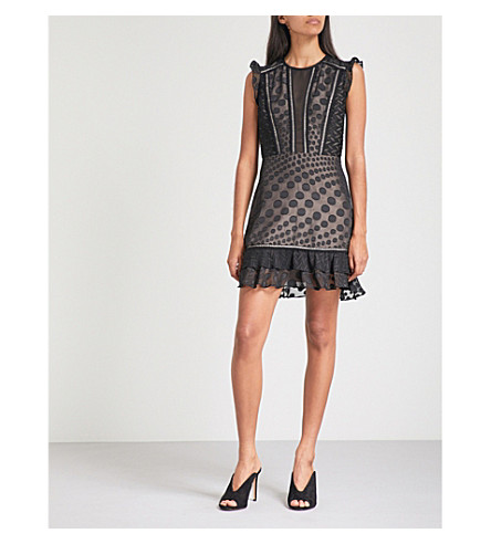 REISS Alexa devoré dress (Black