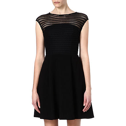 REISS Maya lace overlay dress (Black/white