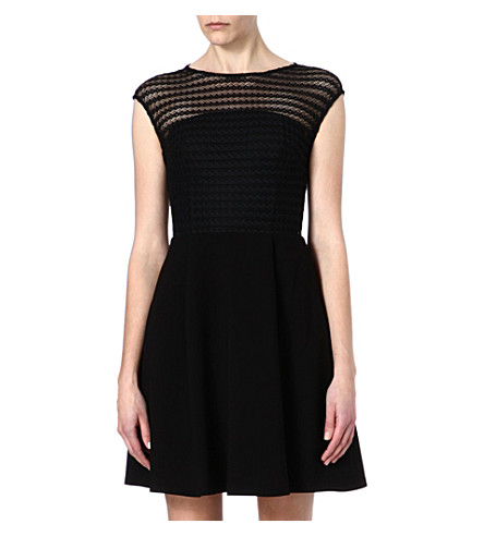 REISS Maya lace overlay dress (Black/white