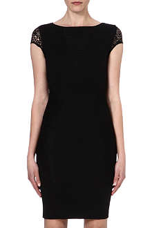 REISS Lace-panel jersey dress