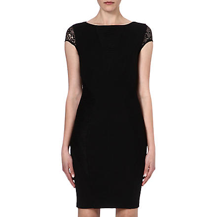 REISS Lace-panel jersey dress (Black