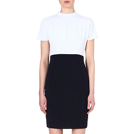 REISS Cipriano two-tone crepe dress (Pale blue/night sky