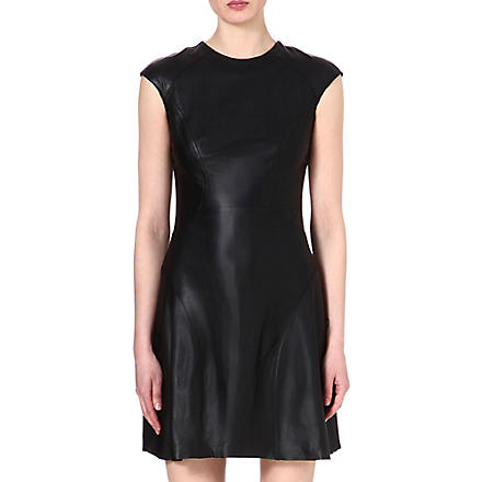 REISS Scanno leather dress (Black