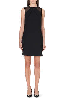 REISS Dayton leather-trimmed crepe dress