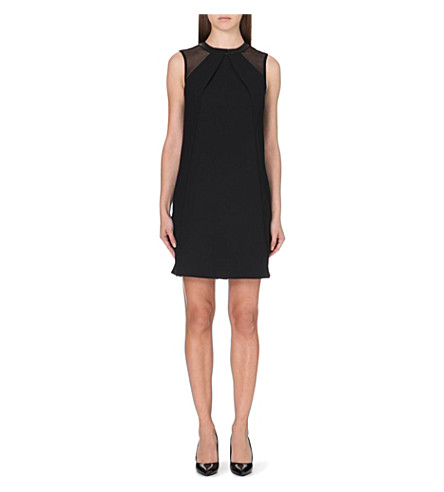 REISS Dayton leather-trimmed crepe dress (Black