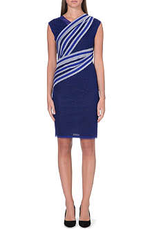 REISS Dotted tulle and striped dress