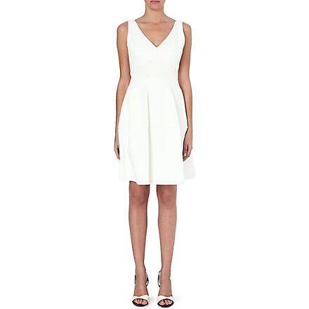 REISS Natalia panel fit and flare dress (Ivory