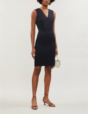 Hartley V-neck wool-blend hopsack mini dress