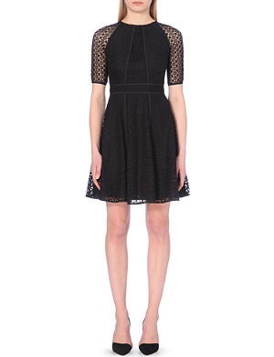 REISS Lace overlay fit and flare dress