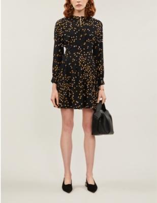 Arabella graphic-print crepe mini dress